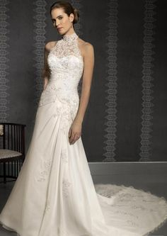 Empire High Collar Chapel Bridal Gown