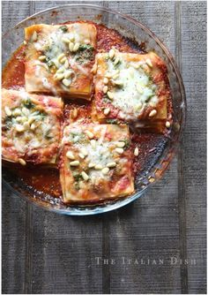 Speedy Mini Lasagna Stacks with Pesto and Marinara Sauce uses won ton wrappers!  Easy pasta recipe.