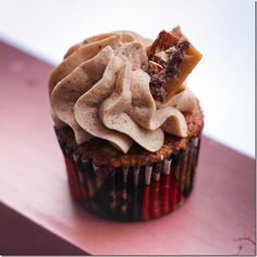 Apple Spice Cupcakes with Toffee Italian Buttercream Frosting