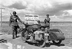 "RUSSIA 1941 - German troops unwanted and facing danger from partisans -   ""Danger - Partisans!  Single vehicles stop! Passage only for two vehicles or more Have your weapons/guns ready.''"