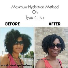 Max Hydration Method Before and after wash and go. For regimen, go to http://msdeekay.com/the-maximum-hydration-method/