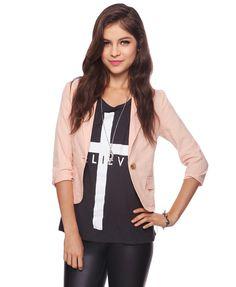forever 21 blazer linenblend blazer, pastel blazer, cloth, style, essenti linenblend, linens, peach, blazers, forever21