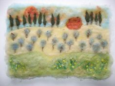 Needle Felted Picture Sunset in Toscana by realfaery