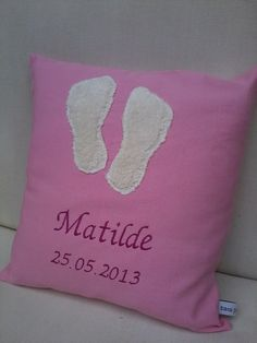 baby foot prints pillow