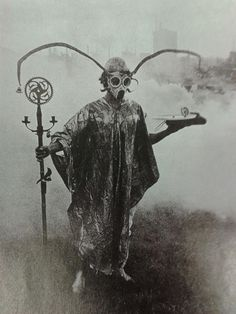 Urban Druid performing spirit sorcery in park, around year 1900.
