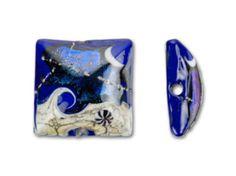 Grace Lampwork Cobalt Dichroic Celestial Pillow Bead