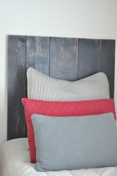 gray/black washed headboard for boys room.  between you & me: Tutorials and DIY Projects