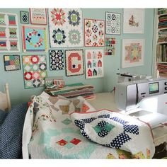 Small quilted pieces make great decorations in the sewing room! From @thimbleblossoms on Instagram.