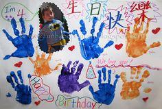 handprint birthday, card idea, birthday parti, birthday card, footprint art