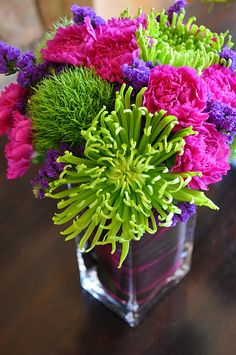 green mums and pink carnations