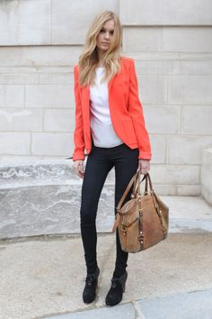 #Coral blazer  Casual Outfit #2dayslook #CasualOutfit #nice #fashion www.2dayslook.com