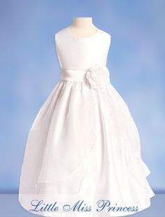 Elena White Holy First Communion Dress Satin with Organza Overlay