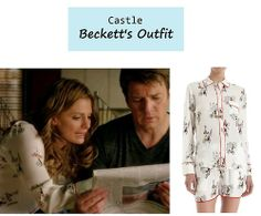 "On the blog: Kate Beckett's (Stana Katic) bicycle print pajams |  Castle - ""Limelight"" (613) #tvstyle #tvfashion #loungewear"
