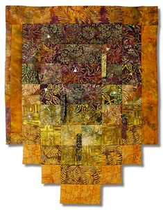 Warmth, Glow, and Shade Cotton, batiks, thread, glass beads, shell beads by Rita Burnstein