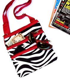Zebra Red Trim Shoulder Bag Purse Crossbody - Large - http://handbagscouture.net/brands/private-label/zebra-red-trim-shoulder-bag-purse-crossbody-large-3/