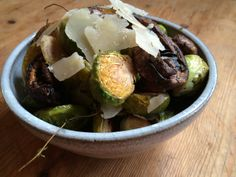 Roasted Brussels Sprouts & Mushrooms with Balsamic topped with Shaved Parmesan - TiffanyKidder.com