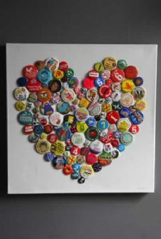 This is made with badges.. I think it would be neat to use beer bottle caps and make different shapes on a canvas