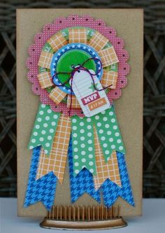 MVP Card by Aphra Bolyer using Jillibean Soup's patterned papers (Game Day Chili, Soup Staples), Game Day Chili stickers, Game Day Chili pea pod parts, Game Day Chili epoxy chipboard buttons, and baker's twine (via the Jillibean Soup blog).