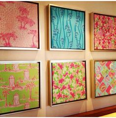 Lilly Pulitzer fabric as wall art! Fun and easy!!