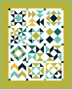 Half-Square Triangle Block of the Month Quilt Diagram by Jeni Baker, via Flickr