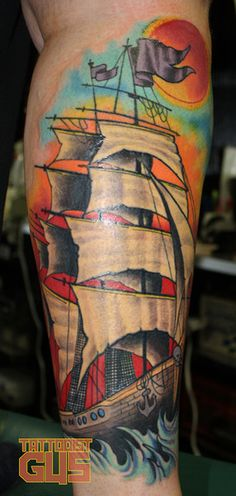 I got me one of these on my back. From Slave to the Needle in Fremont or Wallingford or one of those neighborhoods in Seattle. gorgeous tattoo, animals, bodi art, ship tattoo, tattoos, ships, tattoo ink, gustavo duart, calves