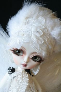 OOAK doll bjd Hujoo berry  handmade custom white angel, via Etsy.