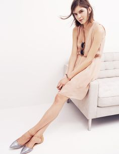 Madewell silk pleated minidress and the Beatrice ankle-strap skimmer.