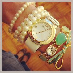 White + mint arm candy.