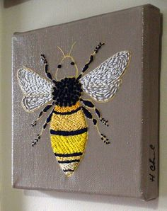 Embroidered Bumble Bee on Painted Canvas by NightingaleArts, $71.00