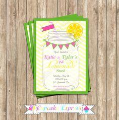 DIY Pink Lemonade boy girl Birthday Party  PRINTABLE Invitation 5x7  summer  lemons pink green  yellow