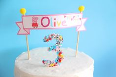 Cake at a Peppa Pig Twins Party with LOTS of CUTE IDEAS via Kara's Party Ideas | KarasPartyIdeas.com #Pig #Party #Ideas #Supplies #twins #peppapig #cake