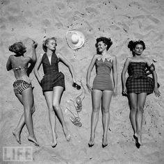 Beach fashion circa 1950, via LIFE vintage swimsuits, nina leen, beaches, fashion, vintage summer, at the beach, life magazine, bathing beauties, vintage bathing suits