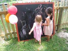 chalkboards, outdoor chalkboard, new houses, birthday parties, kid fun, diy chalkboard, diy swingsets, diy outside chalk board, kid parties