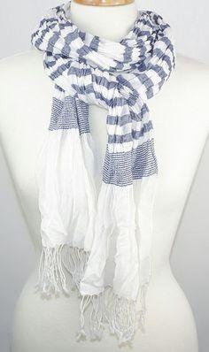 White & Navy Stripe Scarf