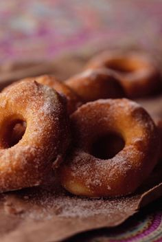 The Deen Bros Easy Biscuit Doughnuts  These bring back memories of childhood!  My mom used to take donuts out of oil and drop in a small paper bag of powdered sugar.  Shake it up and then serve.  YUM!!