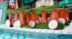 Daniel Tiger Veggie Trolley--Treat party guests to this healthy snack.