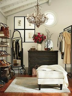 "Even if you don't have a walk-in closet, there's a strong possibility you can make room for one. Here's some tips on ways to create your dream closet or dressing room!  (I really like the idea of some of these, even though it would require that you have some extra room in your ""master"" bedroom)"