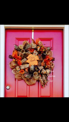 "Fall ""Give Thanks"" Leaf Burlap Mesh Wreath"