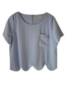Blue Mila scallop top | shoplovemartini.com - StyleSays
