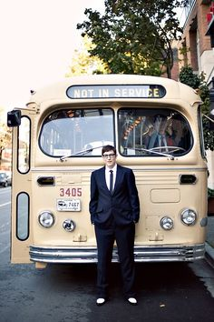 The coolest wedding transportation ~ a cream, vintage bus! #vintagetravel #vintagewedding #weddingtravel #weddingideas #weddingdecor #retro #retrowedding
