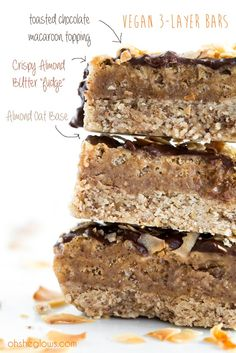 3-Layer Almond Coconut Chocolate Bars #vegan