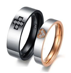 "Stainless Steel 18k Plated Cz ""Cross & Heart"" Engraved Couple Rings Set for Engagement, Promise, Eternity R018 (His Size 7..."