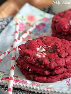 Red Velvet Milky Way Cake Cookies, perfect for your upcoming cookie exchanges!