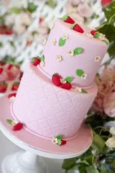 Strawberry Tea Party by @Louisa @ Little Big Company. Strawberry cake, pink strawberry cake, fondant strawberries