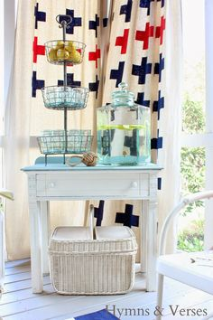 Cute diy beverage station in Hymns and Verses screened   porch! #vintage #porch
