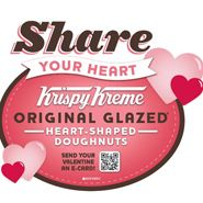 There is a QR code located on the Valentine's Day box of donuts that enables users to send a Krispy Kreme Valentine e-card to someone special. The donuts are available now through Feb. 14 at the Krispy Kreme display inside participating mass merchants and grocery stores.