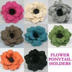 Gorgeous Felt Flower Ponies sold on Ebay. $6 each. Wish I could find a tutorial... flower poni, diy flower, felt flowers