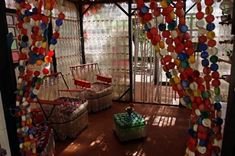 Bottle Cap Curtains - Plastic Bottle Chairs and Walls