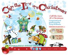 Call the Law, It's Christmas. Hand-coded HTML with PayPal and Amazon purchase integration. Graphics and design by Sue England at http://senglanddesign.com. graphic, christma