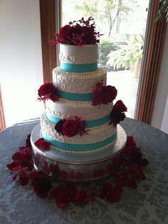 Love it!                                                                                                                                                           Aqua & Red Wedding Cake                                                                ..